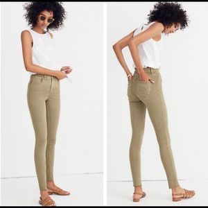 "Madewell 9"" High Riser Skinny Jeans Crop Olive"
